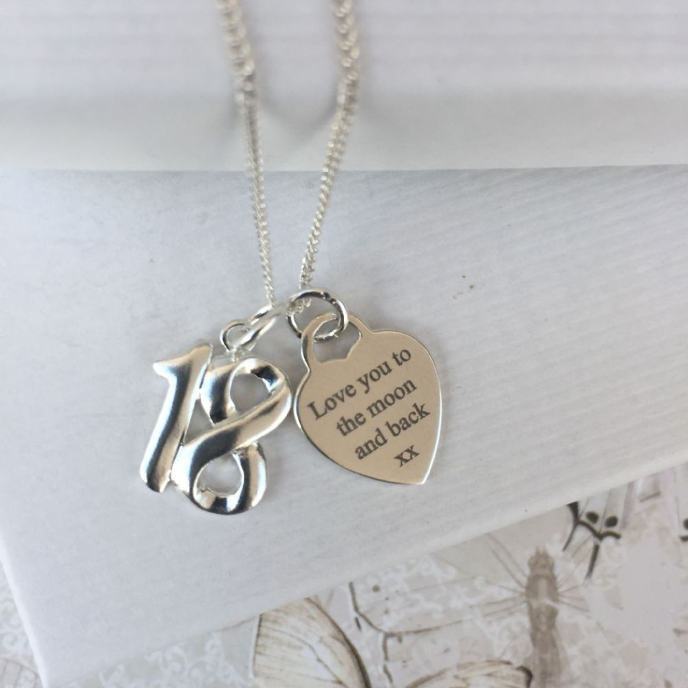 18th birthday gift necklace - FREE ENGRAVING